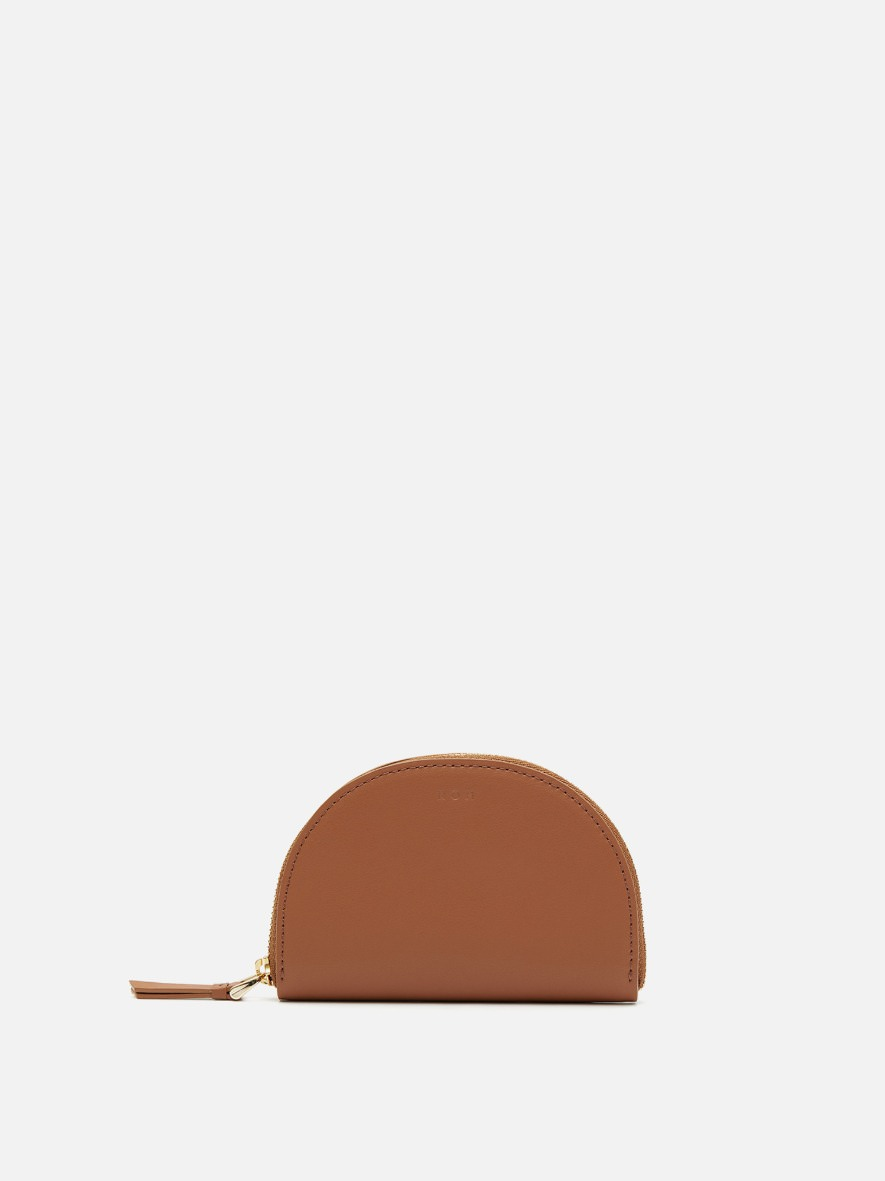 Half moon card zip wallet Creamy tan