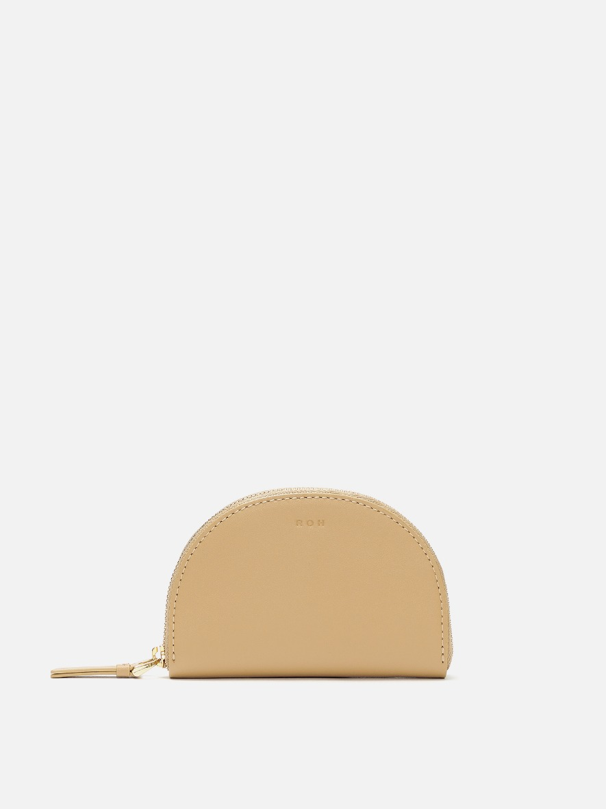 Half moon card zip wallet Light ocher